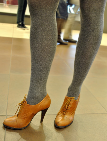 Marina Marcicev, gray tights, brown heels