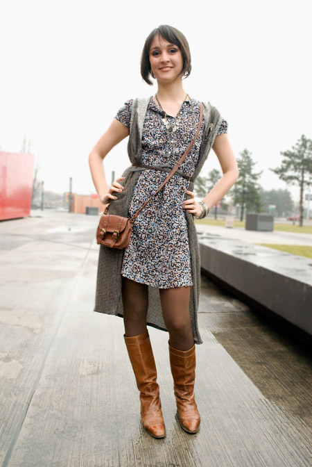 Zara dress, brown boots, Jelena Nenadic